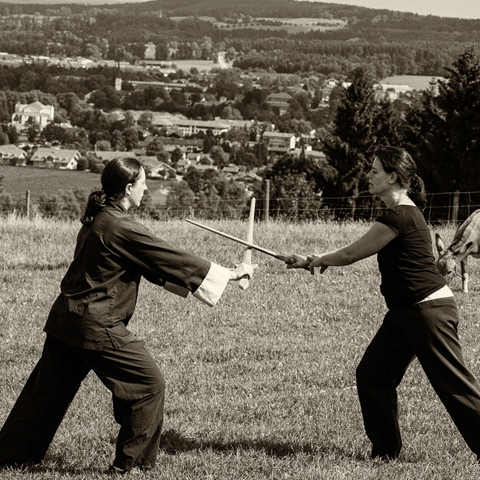 Tai Chi Schülerinnen beim Praktizieren der Schwert-Partnerform - Foto: Ralf Eiser