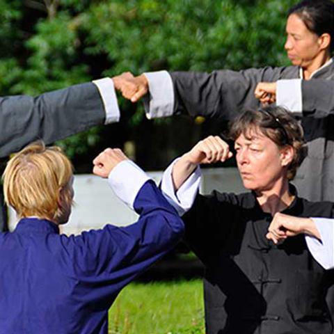 Tai Chi Schüler bei Handfighting Form - Foto: Christine Rühmer